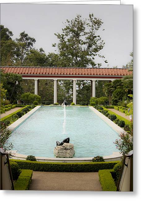 J Paul Greeting Cards - Outer Peristyle Pool and Fountain Getty Villa Greeting Card by Teresa Mucha