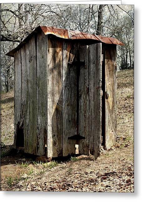 Vintage Potty Greeting Cards - Outhouse Greeting Card by Gayle Johnson