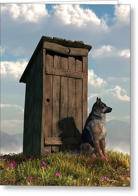 Guard Dog Greeting Cards - Outhouse Guardian - German Shepherd Version Greeting Card by Daniel Eskridge