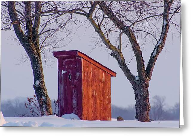 Outhouse In The Winter Greeting Card by Bill Cannon