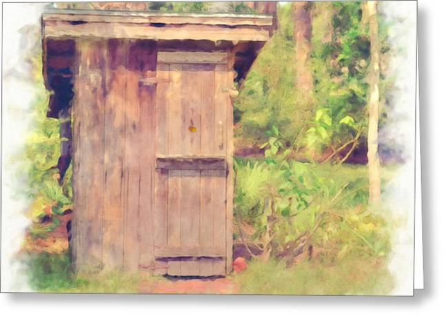 Vintage Potty Greeting Cards - Outhouse Greeting Card by L Wright