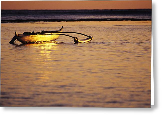 Culture Influenced Art Greeting Cards - Outrigger and Sunset Greeting Card by Joss - Printscapes