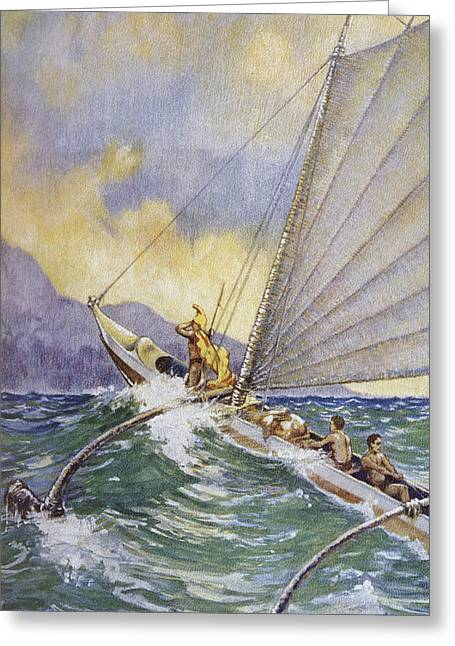 Culture Influenced Art Greeting Cards - Outrigger at Sea Greeting Card by Hawaiian Legacy Archive - Printscapes