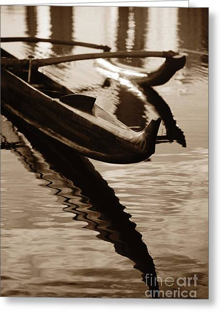 Best Sellers -  - Polish Culture Greeting Cards - Outrigger Canoe - Sepia Greeting Card by Dana Edmunds - Printscapes