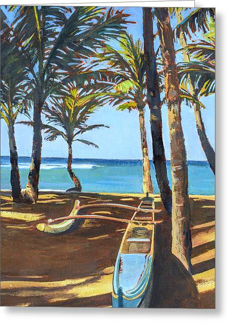 Lahaina Greeting Cards - Outrigger Canoe at Mamas Fish House Greeting Card by Stacy Vosberg