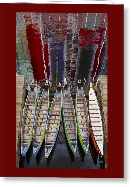Geometric Digital Art Greeting Cards - Outrigger Canoe Boats And Water Reflection Greeting Card by Ben and Raisa Gertsberg