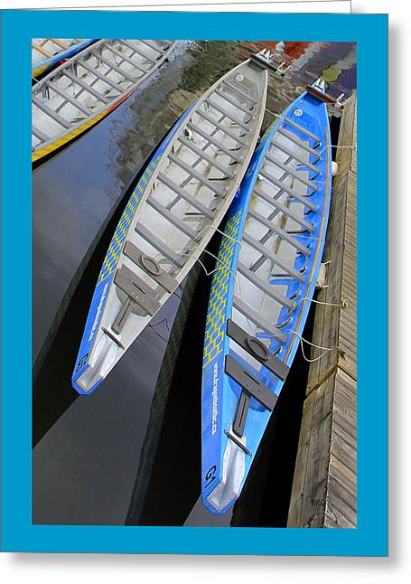 Geometric Art Greeting Cards - Outrigger Canoe Boats Greeting Card by Ben and Raisa Gertsberg