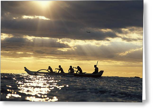 Outrigger Canoe Greeting Card by Vince Cavataio - Printscapes