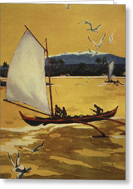 Island Cultural Art Greeting Cards - Outrigger Off Shore Greeting Card by Hawaiian Legacy Archive - Printscapes