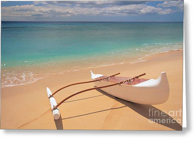 Outrigger on Beach Greeting Card by Dana Edmunds - Printscapes