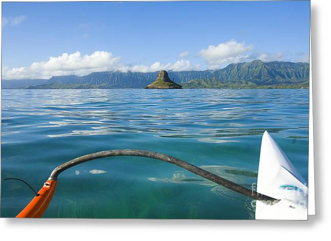 Outrigger on Ocean Greeting Card by Dana Edmunds - Printscapes