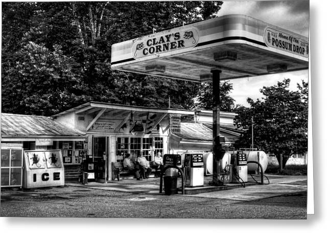 Possum Greeting Cards - Outside At Clays Corner in Black and White Greeting Card by Greg Mimbs