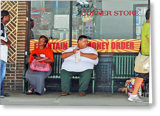 Interior Scene Greeting Cards - Outside The Corner Store Greeting Card by Joe Jake Pratt