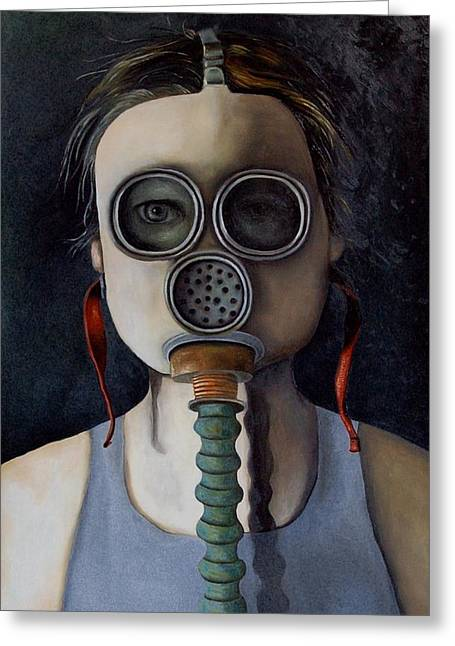 Surreal Humor Greeting Cards - Outsider 1 Greeting Card by Leah Saulnier The Painting Maniac