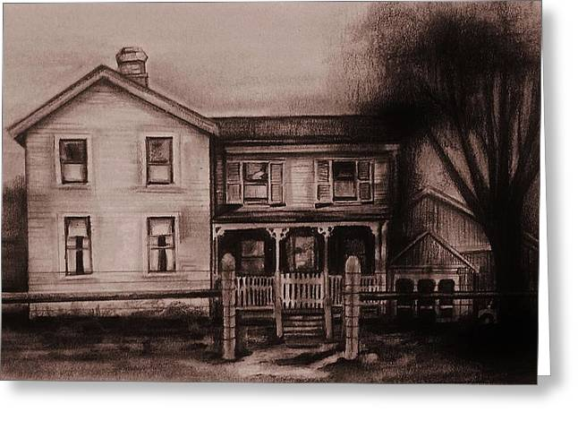 Clapboard House Drawings Greeting Cards - Outskirts Greeting Card by Jean Cormier