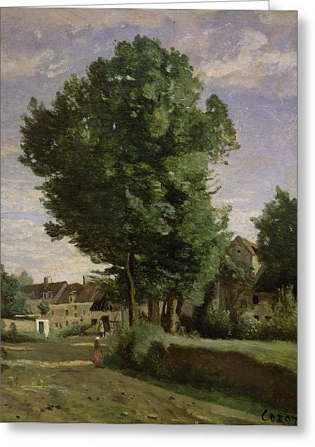 Corot Greeting Cards - Outskirts of a village near Beauvais Greeting Card by Jean Baptiste Camille  Corot