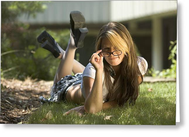 Blonde Girl Photographs Greeting Cards - Outstanding student Greeting Card by Robert Ponzoni