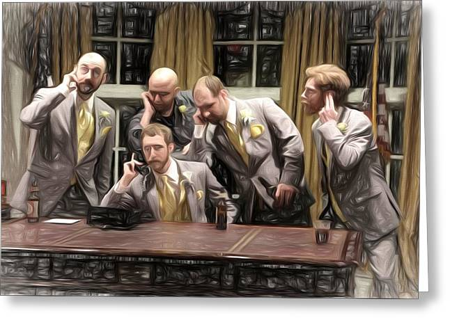 Plotting Paintings Greeting Cards - Oval Office Farce Greeting Card by Theresa Campbell