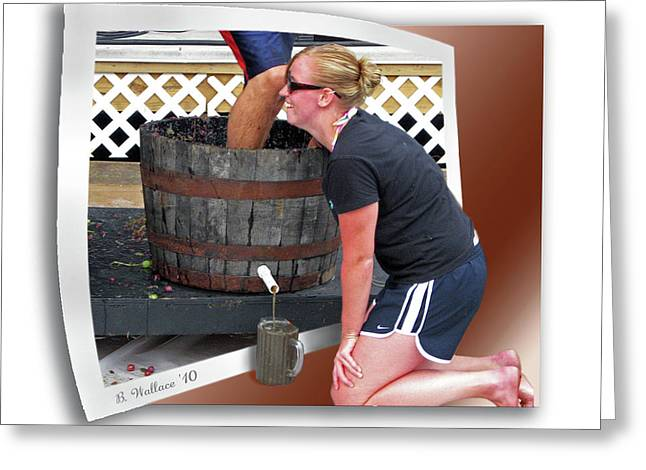 Wine Legs Greeting Cards - Over A Barrel Greeting Card by Brian Wallace
