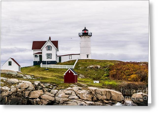 Cape Neddick Lighthouse Greeting Cards - Overcast at Nubble Light Greeting Card by Michael  Goodin
