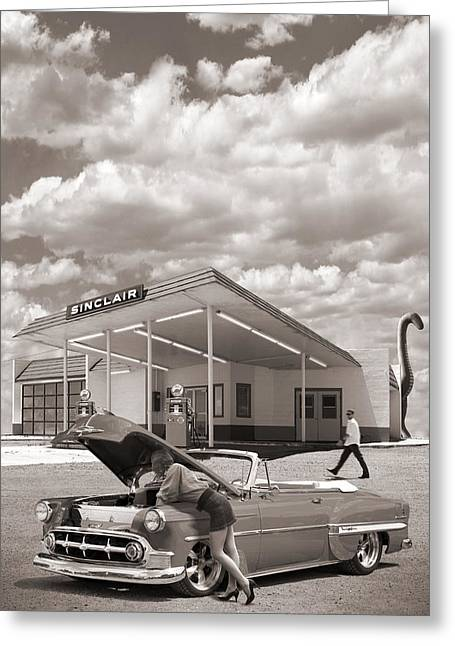 Ford Street Rod Greeting Cards - Over Heating At The Sinclair Station Sepia Greeting Card by Mike McGlothlen