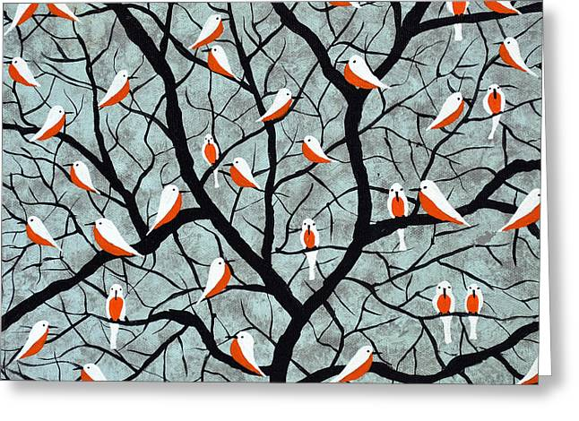 Flocks Of Birds Paintings Greeting Cards - Over the branches Greeting Card by Sumit Mehndiratta