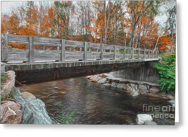 Nature Scene Paintings Greeting Cards - Over The Bridge Into The Woods Greeting Card by Deborah Benoit