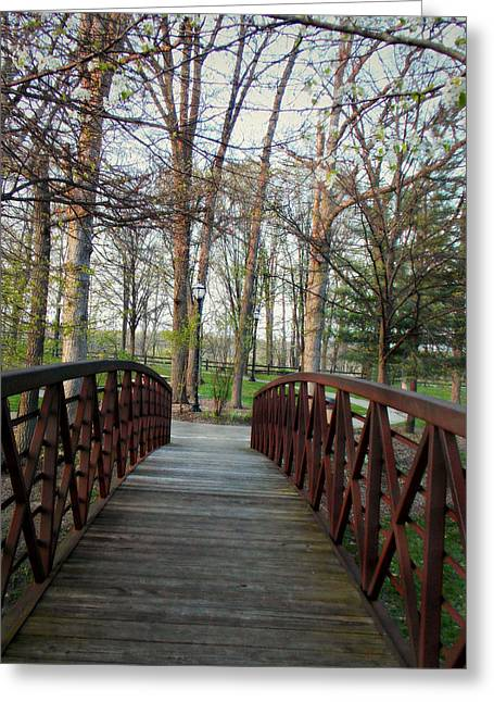 The Wooden Cross Greeting Cards - Over The Bridge Greeting Card by Lisa Mesmer