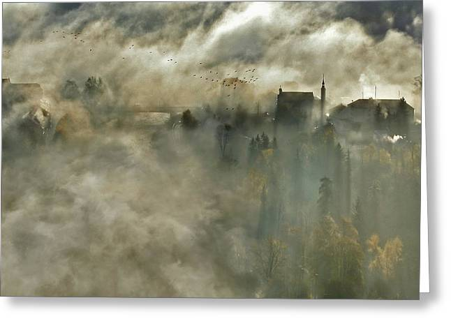 Morning Mist Greeting Cards - Over The Bridge Greeting Card by Matjaz Cater