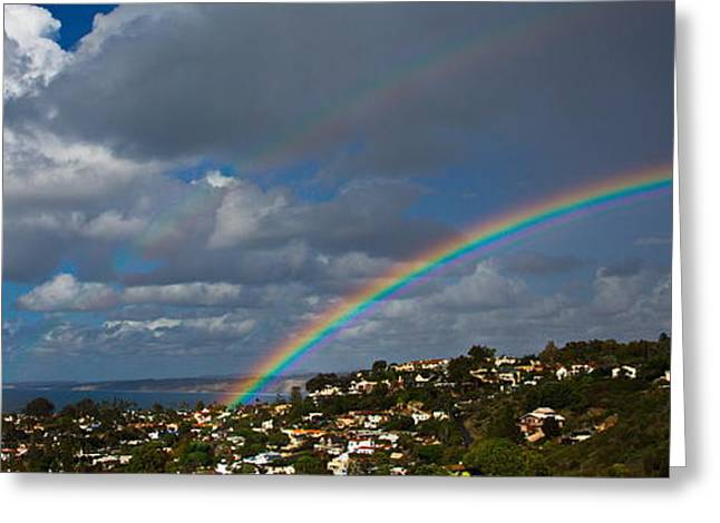 Over The Double Rainbow Greeting Card by Russ Harris
