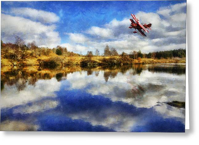 Bi Plane Greeting Cards - Over The Lake Greeting Card by Ian Mitchell