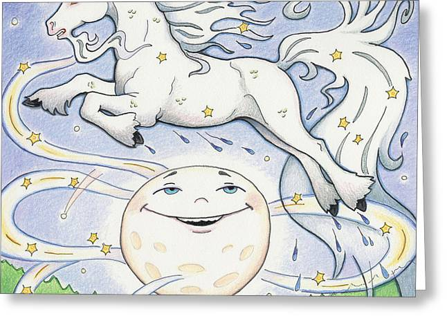 Magical Drawings Greeting Cards - Over The Moon Waterhorse Greeting Card by Amy S Turner