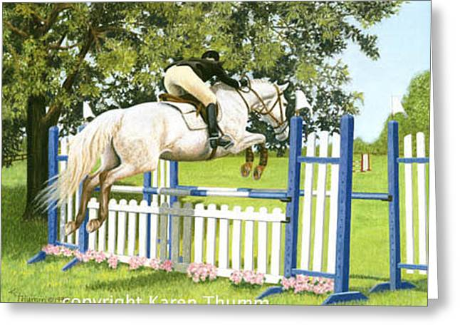 Event Pastels Greeting Cards - Over The Oxer Greeting Card by Karen Baker Thumm