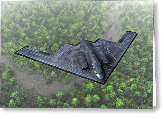 Whiteman Digital Art Greeting Cards - Over the River and Through the Woods in a Stealth Bomber Greeting Card by Dave Luebbert