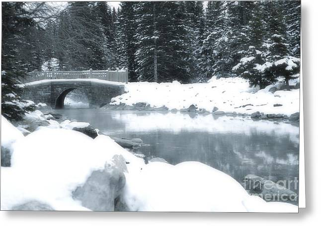 Snow Tree Prints Greeting Cards - Over the River Greeting Card by Andrea Hazel Ihlefeld