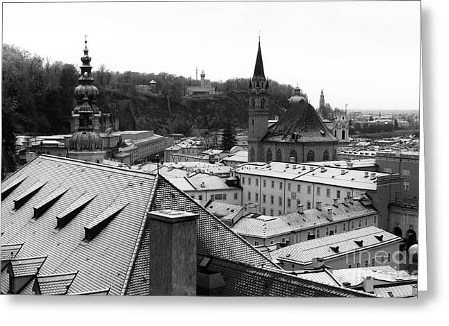 Art In Salzburg Greeting Cards - Over the Roof in Salzburg Greeting Card by John Rizzuto