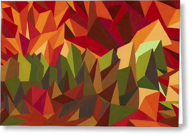 Abstract Geometric Pastels Greeting Cards - Over the Sunset Mountains Greeting Card by Sean Corcoran
