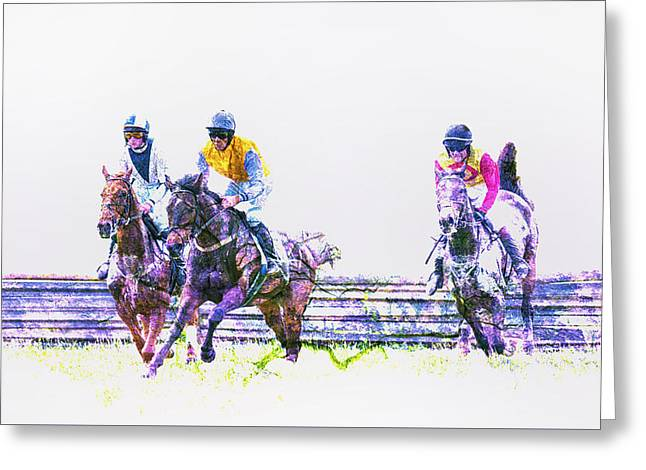 Race Horse Greeting Cards - Over the Timbers 2 Greeting Card by Larry Helms