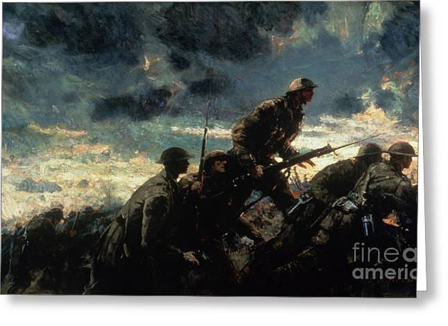 Wwi Paintings Greeting Cards - Over the Top Greeting Card by Alfred Bastien