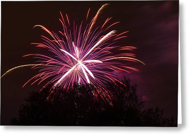 Pyrotechnics Greeting Cards - Over the Tree Greeting Card by Keith Brodeur