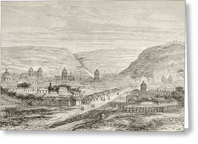 Overall View Of Cuzco, Peru, In The Greeting Card by Vintage Design Pics