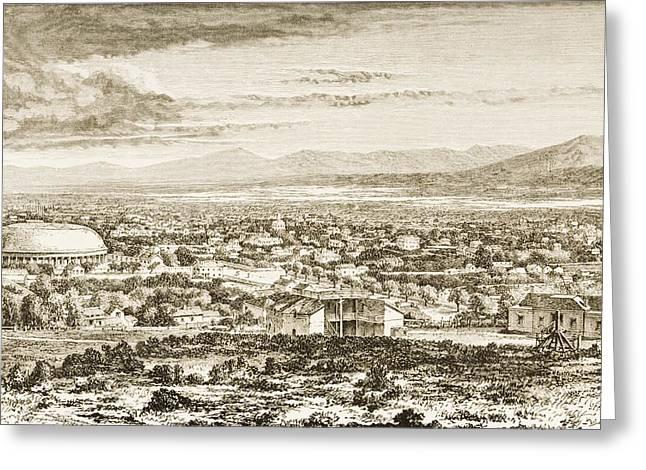 Saint Joseph Drawings Greeting Cards - Overall View Salt Lake City, Utah, In Greeting Card by Ken Welsh