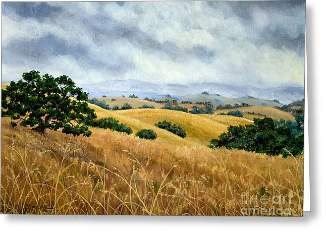 Oak Tree Paintings Greeting Cards - Overcast June Morning Greeting Card by Laura Iverson