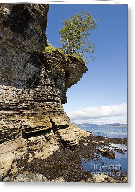 Overhang Greeting Cards - Overhanging cliffs Skye Greeting Card by Photimageon UK