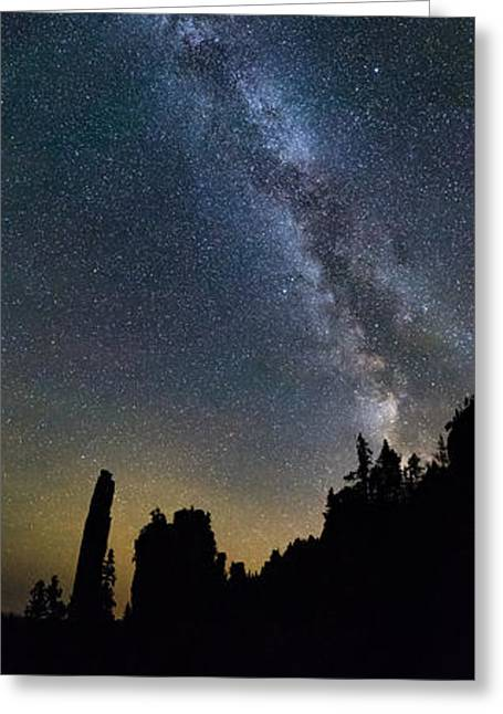 Boulder Night Life Greeting Cards - Overhead Pano of Milky Way at the Pinacles view 2 Greeting Card by Jakub Sisak
