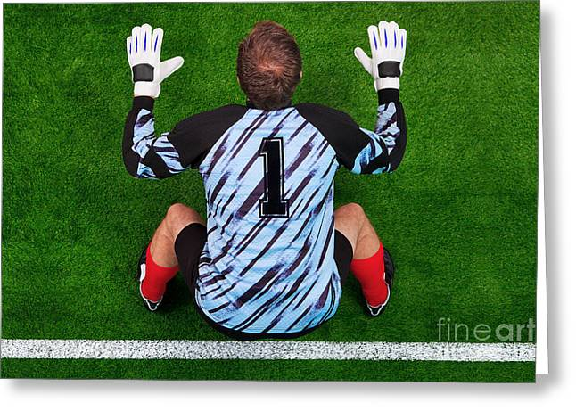 Sportswear Greeting Cards - Overhead shot of a goalkeeper on the goal line Greeting Card by Richard Thomas