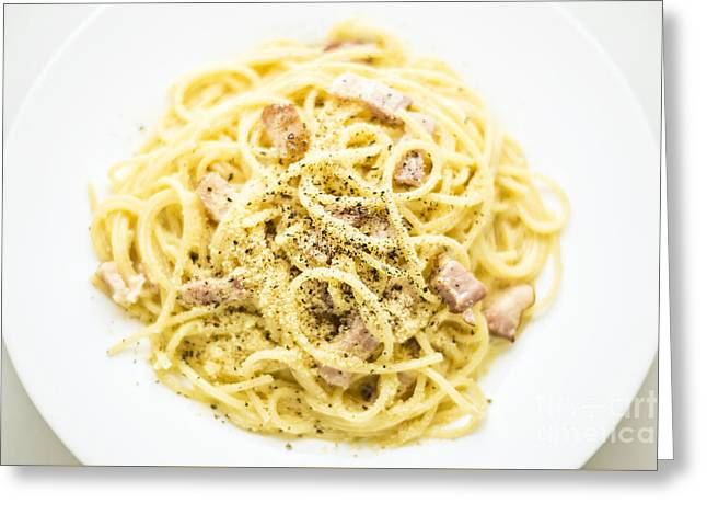 Italian Med Greeting Cards - Overhead View Of Spaghetti Carbonara Italian Pasta Dish  Greeting Card by Jacek Malipan
