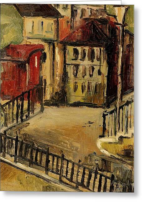 Historic Home Greeting Cards - Overlooking A Backyard Greeting Card by Alice Bailly