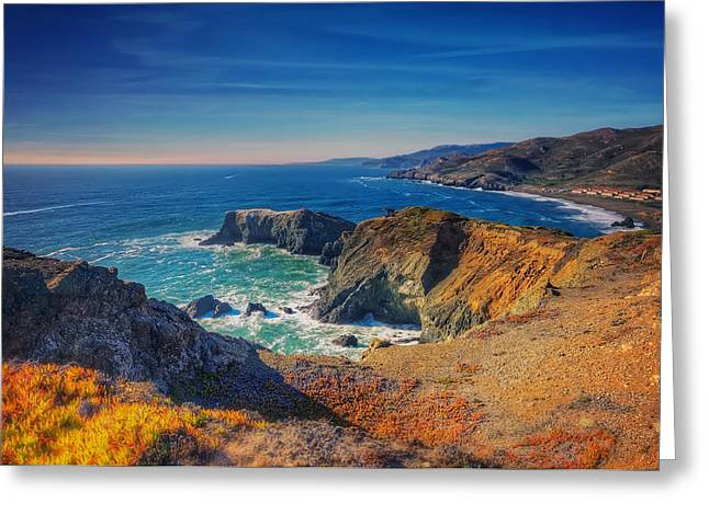 Marin County Greeting Cards - Overlooking Bird Island - Marin Headlands California Greeting Card by Jennifer Rondinelli Reilly