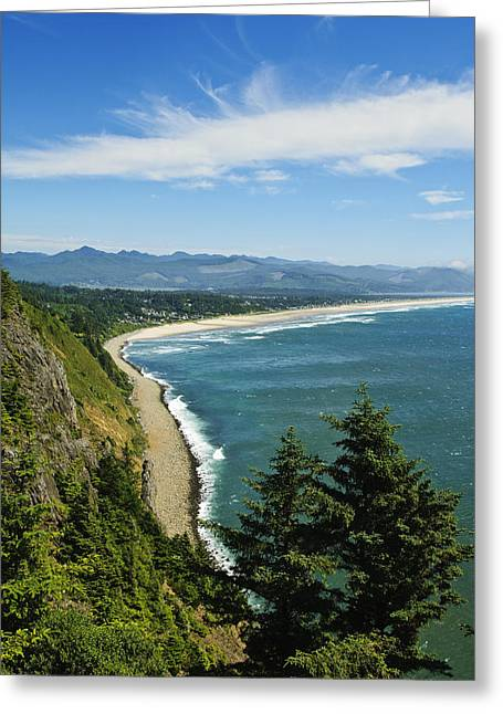 Overlooking Nehalem Bay Greeting Card by Greg Vaughn - Printscapes